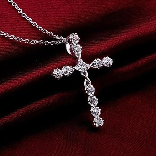 Élégant Cross Saphir Blanc Collier for Femme