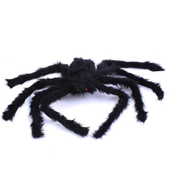 Posable Noir Long Plush Spider for Halloween Decoration