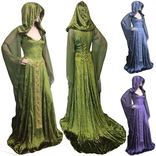 Halloween Witch Cosplay Long Sleeve Maxi Robe