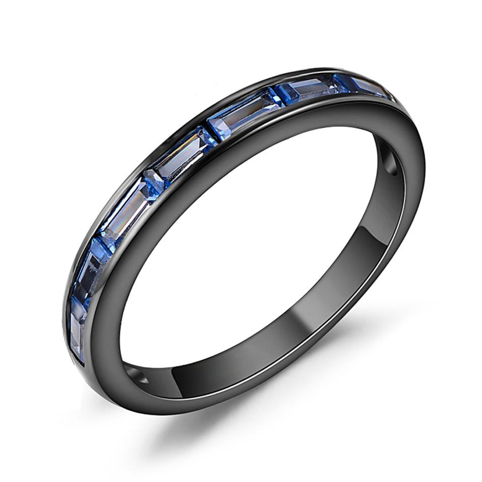 Coupe Émeraude Saphir Bleu Noir Argent Sterling Alliances