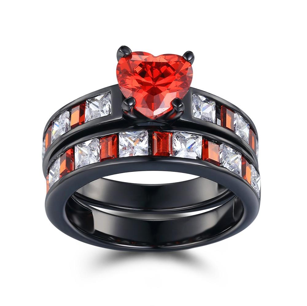 Coupe Coeur Rubis Noir 925 Argent Sterling Ensembles de Bague de Mariage