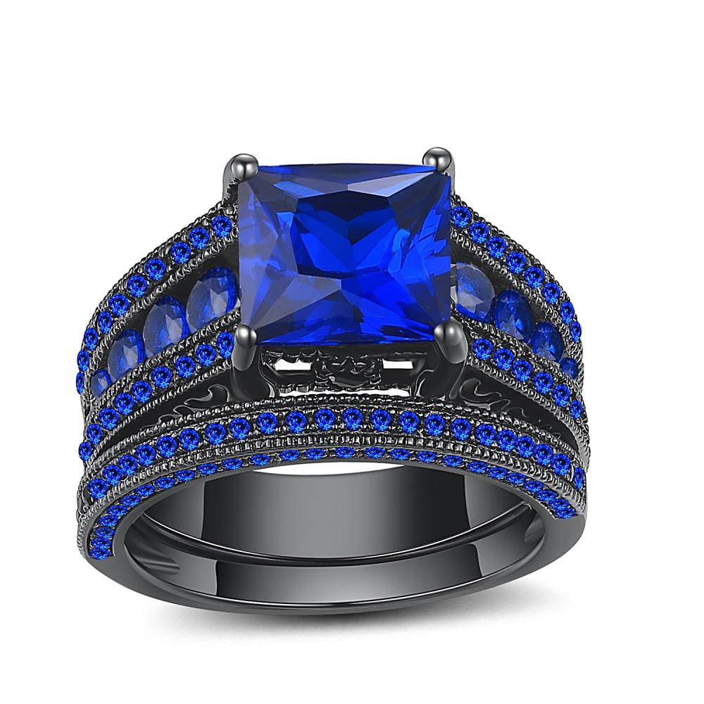 Saphir Coupe Princesse Noir 925 Argent Sterling Ensembles de Bague de Mariage