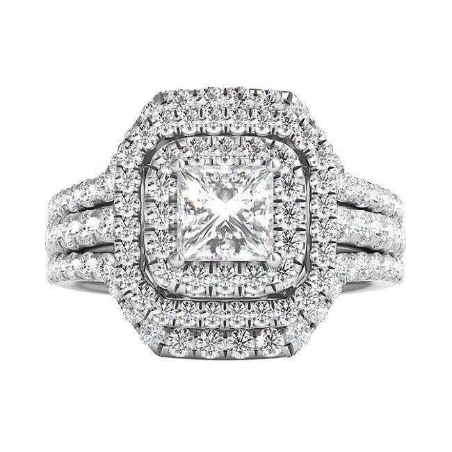 Coupe Princesse Saphir Blanc 925 Argent Sterling Halo 3 Pièces Ensembles de Bague de Mariage
