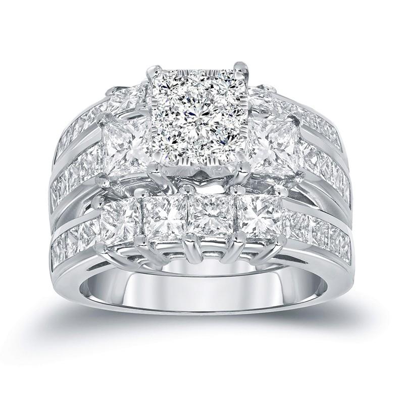 Coupe Princesse Saphir Blanc Argent Sterling 3 Pièces Ensembles de Bague de Mariage