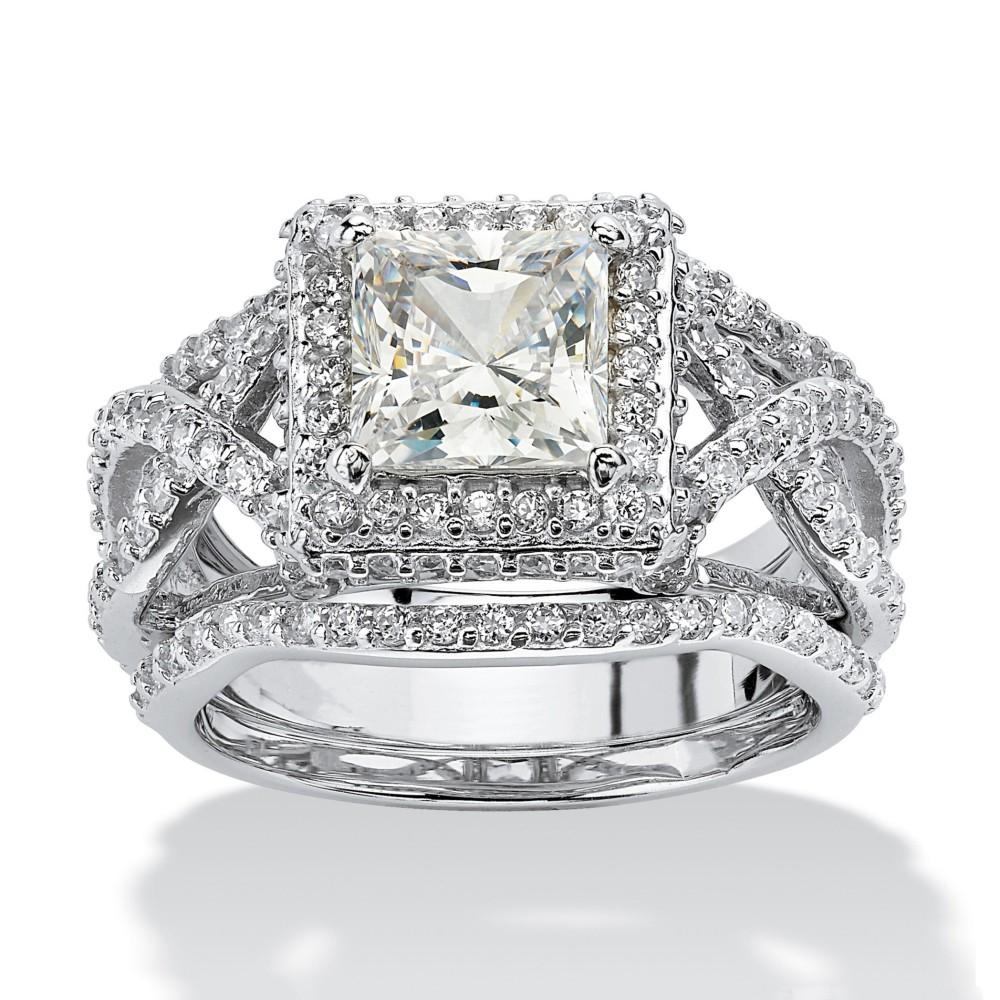 Coupe Princesse Saphir Blanc Argent Sterling Halo 3 Pièces Ensembles de Bague de Mariage