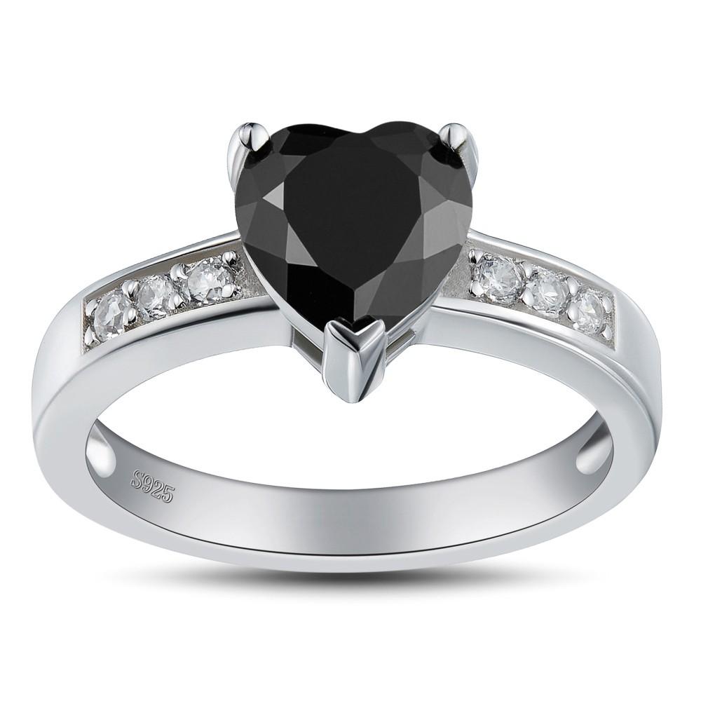 Coupe Coeur Noir 925 Argent Sterling Bagues de Promesse pour Elle