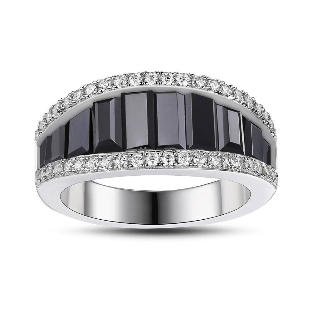 Saphir Noir 925 Argent Sterling Alliances Femme