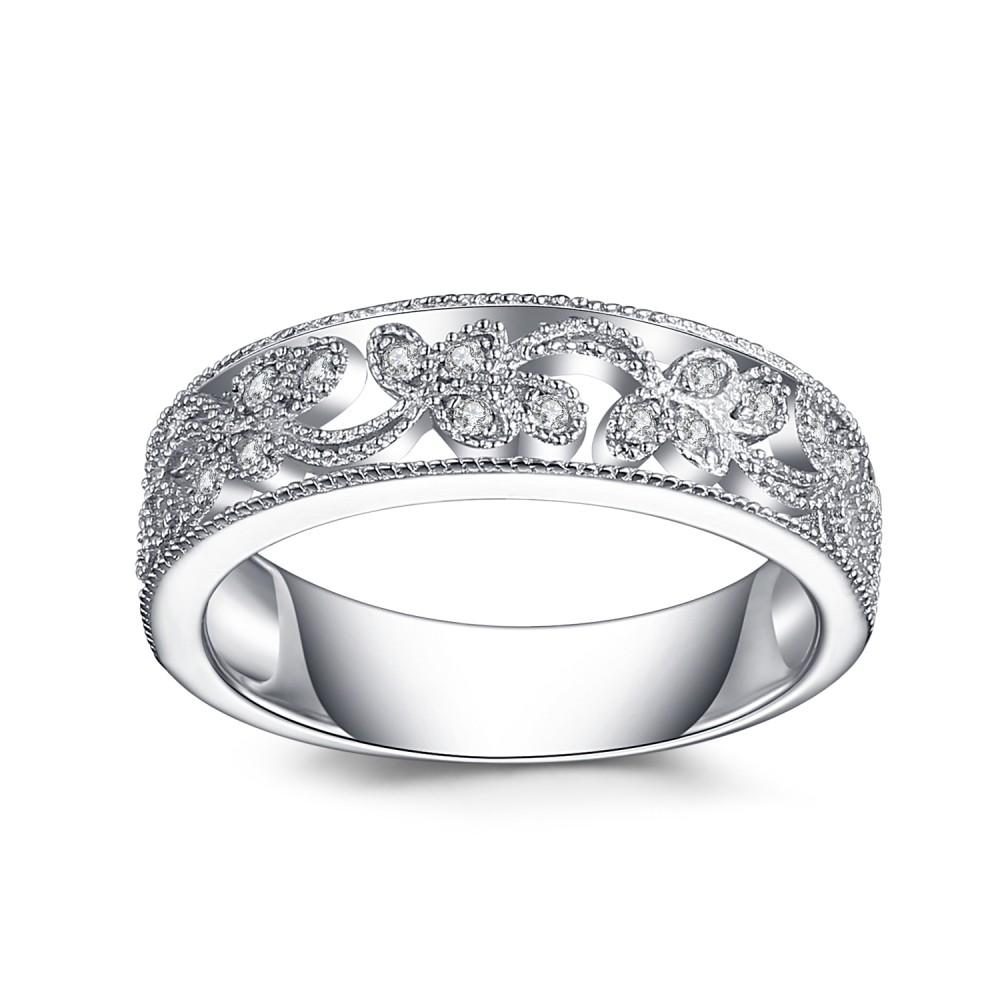 Coupe Ronde Saphir Blanc 925 Argent Sterling Alliances Femme