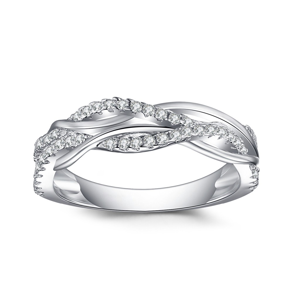 925 Argent Sterling Coupe Ronde Saphir Blanc Alliances Femme