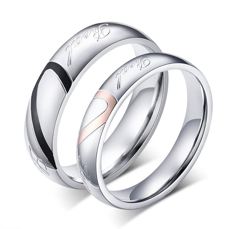 Acier au Titane Coeur Désign Bague de Promesse pour les Couples