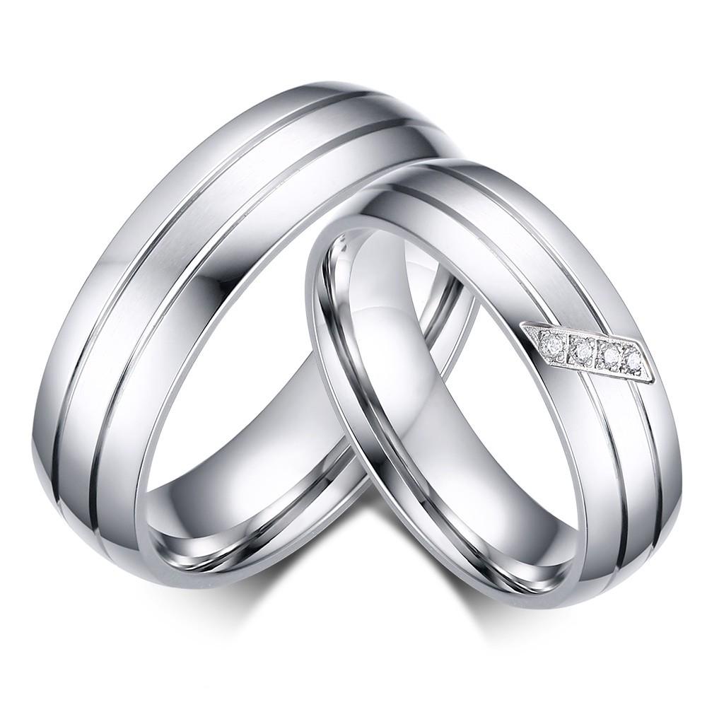 Élégant Argent Acier au Titane Bague de Promesse pour les Couples