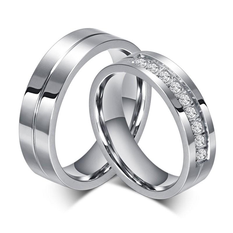 Acier au Titane Coupe Ronde Gemme Bague de Promesse pour les Couples