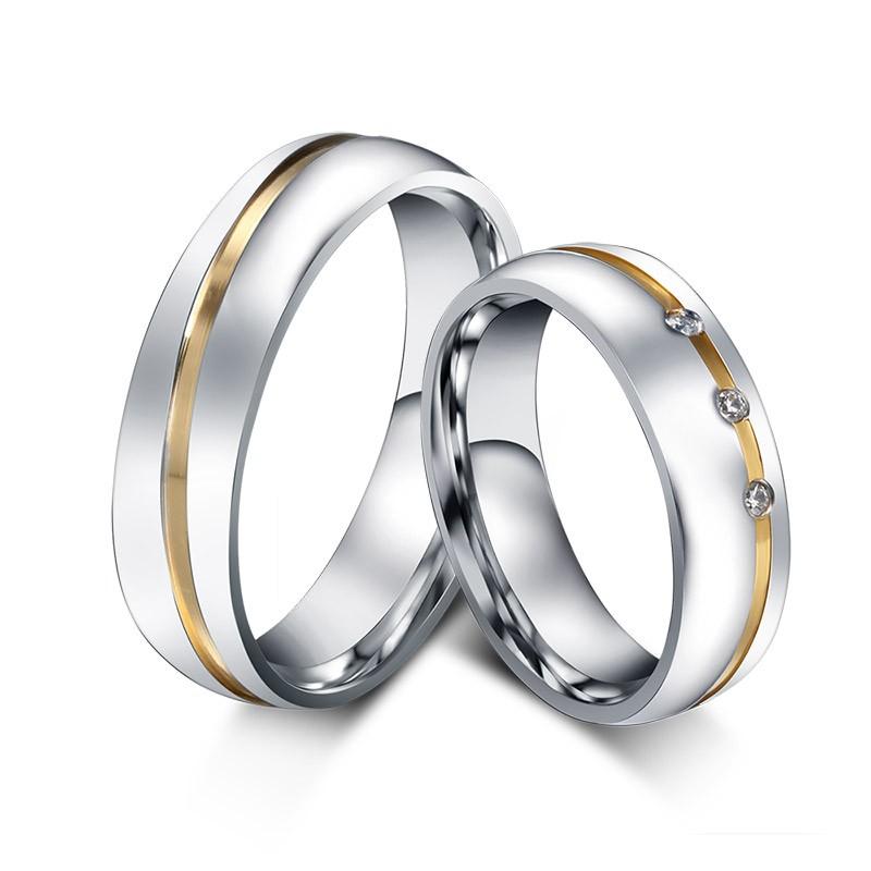Or et Argent Acier au Titane Gemme Bague de Promesse pour les Couples