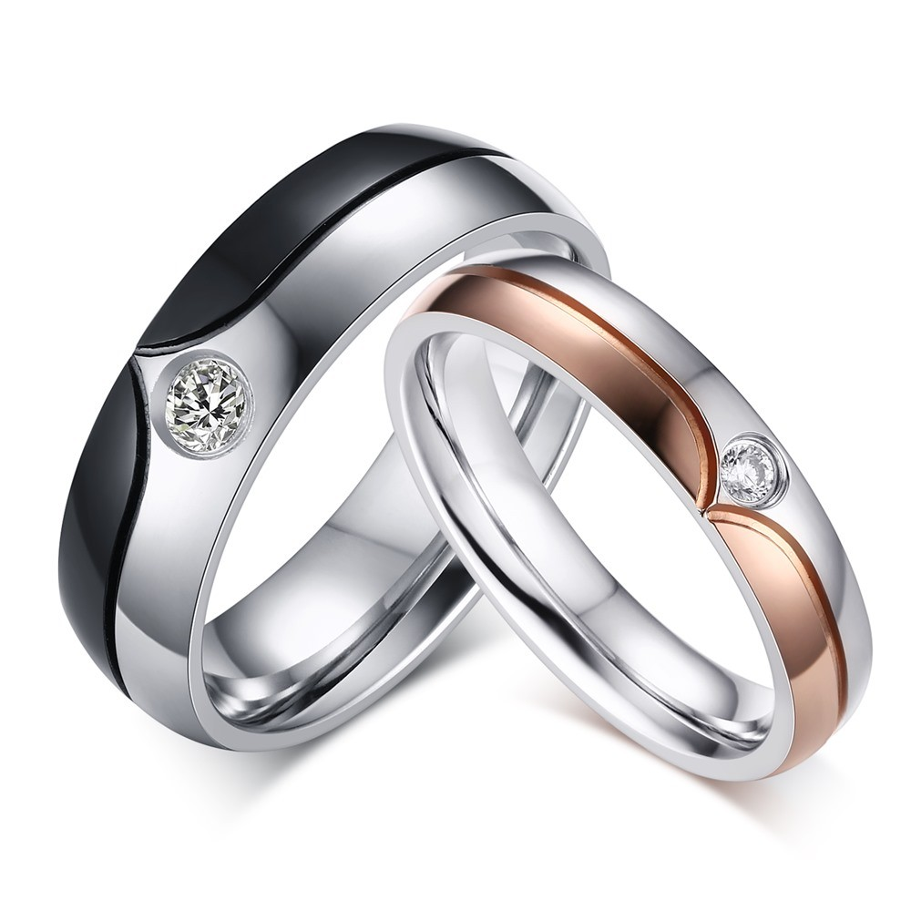 Coupe Ronde Gemme Acier au Titane Bague de Promesse pour les Couples