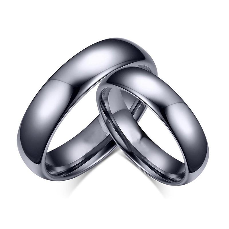 Mode Noir Acier au Titane Bague de Promesse pour les Couples