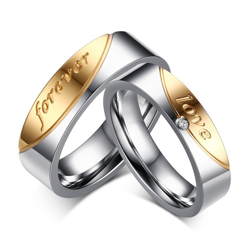 Pour Toujours Amour Acier au Titane Argent Or Bagues de Promesse pour les Couples