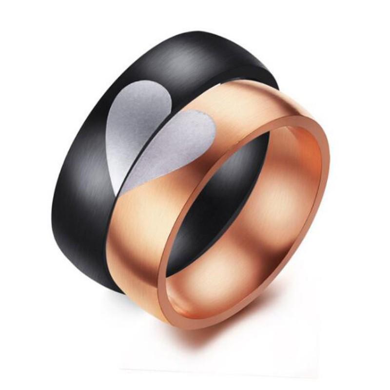 Coeur Or Rosé & Noir Acier au Titane Bagues de Promesse pour les Couples