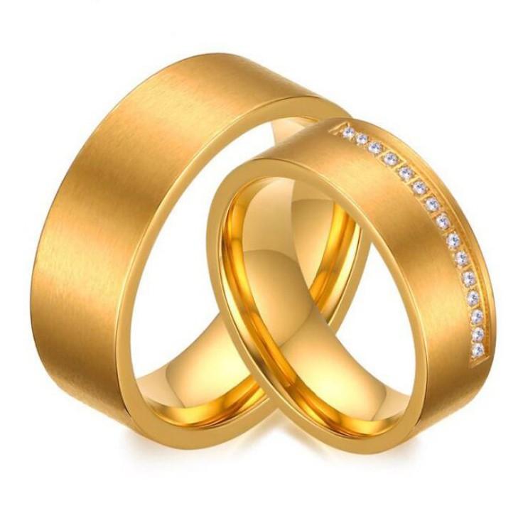 Coupe Ronde Saphir Blanc Or Acier au Titane Bagues de Promesse pour les Couples