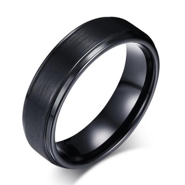 Tungstène Simple Cool Noir Bague de Homme