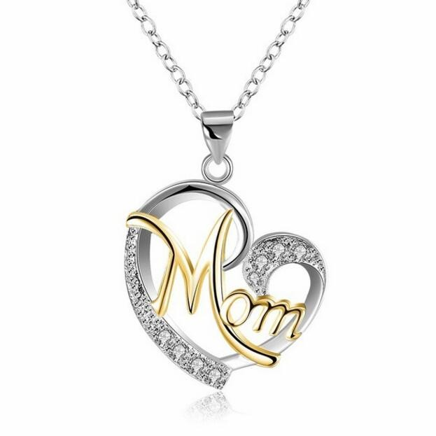 """Coupe Ronde Saphir Blanc Or & Argent Coeur """"Mom"""" Collier"""
