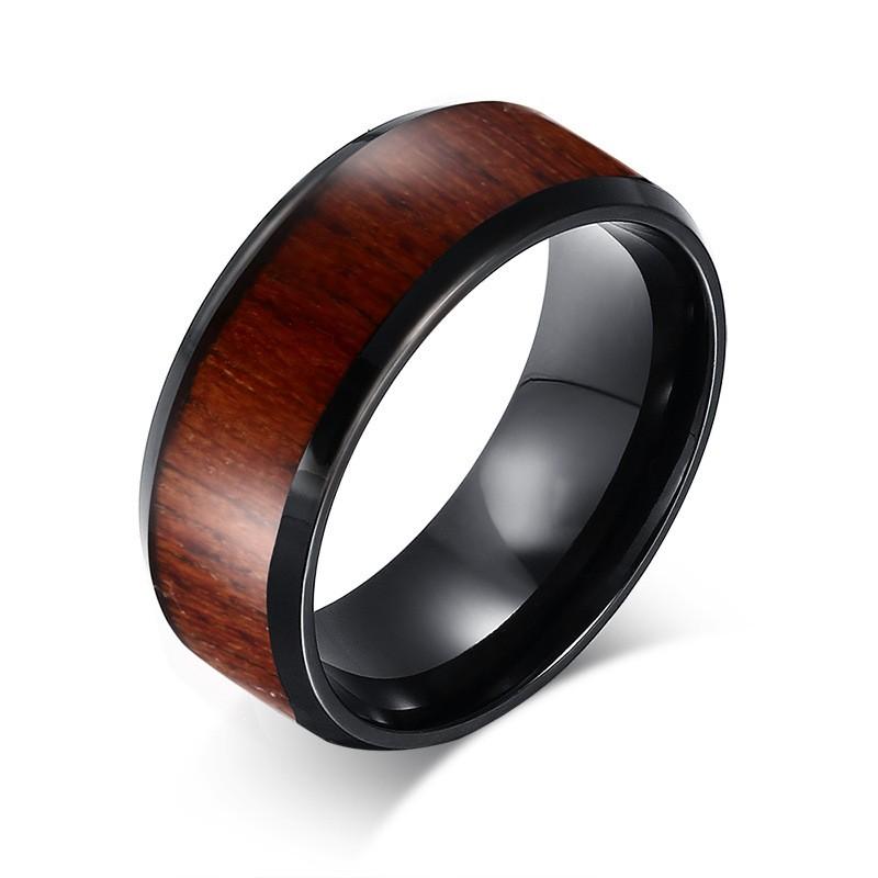 Noir Tungstène Wood Inlaid Alliances Homme