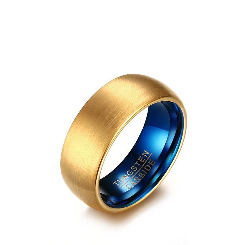 Tungstène Or & Bleu Alliances Homme