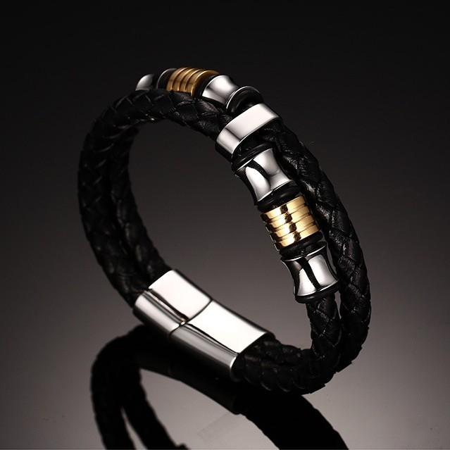 Noir CuirOr et Argent 925 Argent Sterling Bracelet