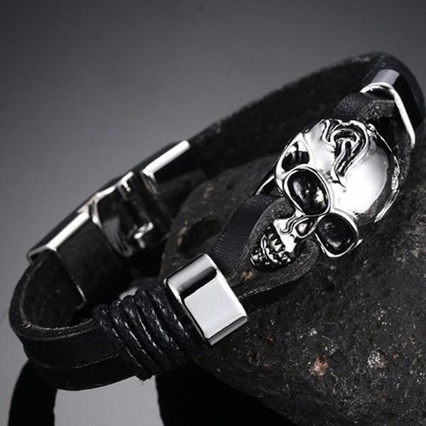 Noir CuirCrâne 925 Argent Sterling Bracelet