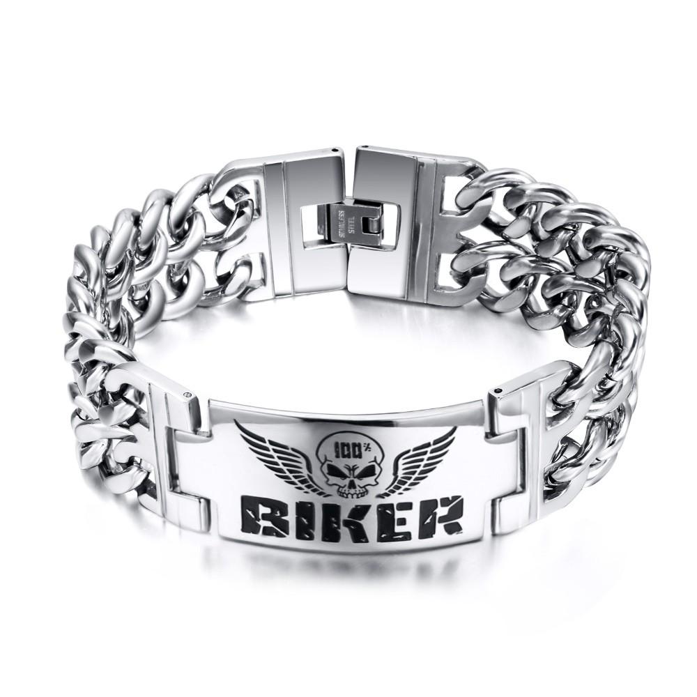 Biker Chaîne Désign 925 Argent Sterling Bracelet