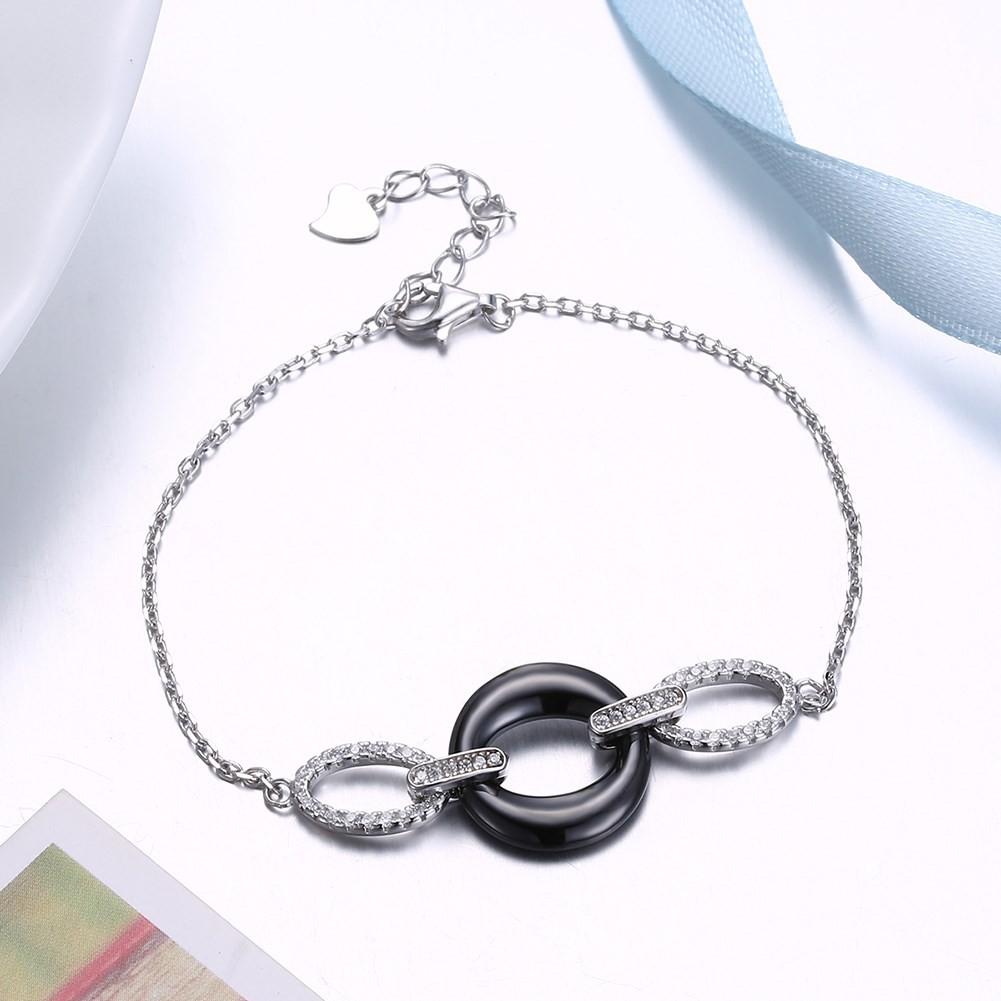 Unique Noir Ceramic Cercle Pendant S925 Argent Bracelets