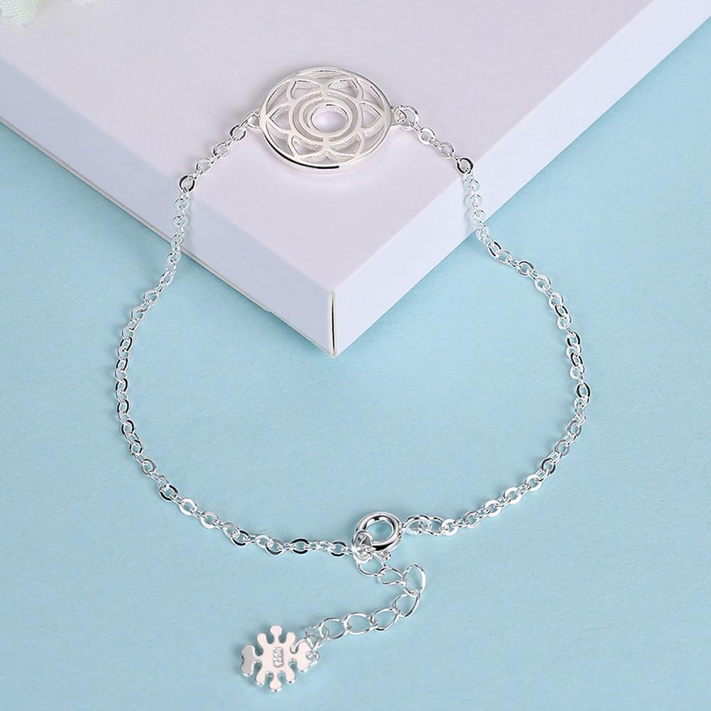 Or Rosé/Argent/Or Fleur Ronde Pendant S925 Argent Bracelets