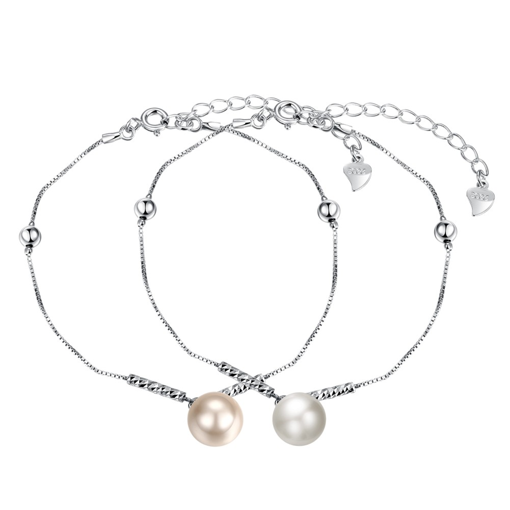 Blanc/Pearl Rose Pearl S925 Argent Bracelets