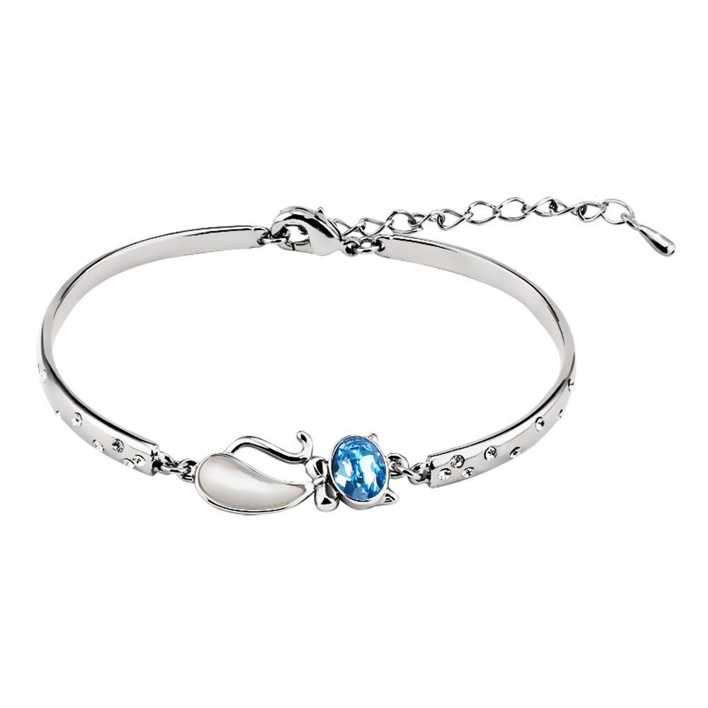 Coupe Ovale Aigue-marine Argent Titane Bracelets Joncs
