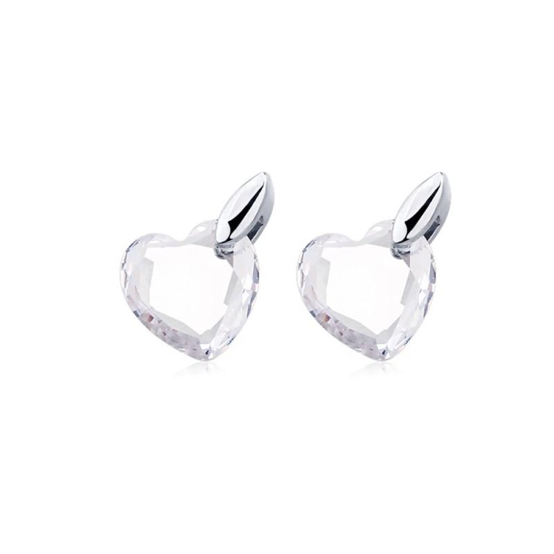 Coupe Coeur Saphir Blanc S925 Argent Boucles d'oreilles