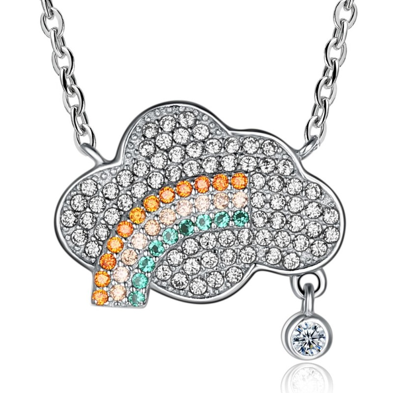 Coupe Ronde Saphir Blanc S925 Argent Cloud Rainbow Colliers