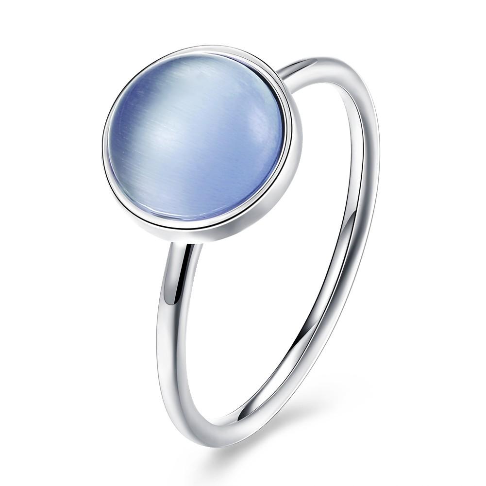 Coupe Ronde Light Bleu Stone S925 Argent Bagues de Promesse
