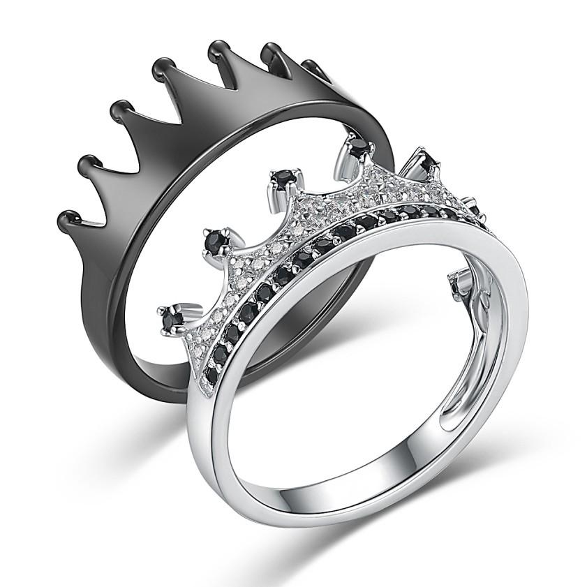 Sa Reine Son Roi' Couronne Noir et Argent 925 Argent Sterling Bagues de Promesse pour Couple