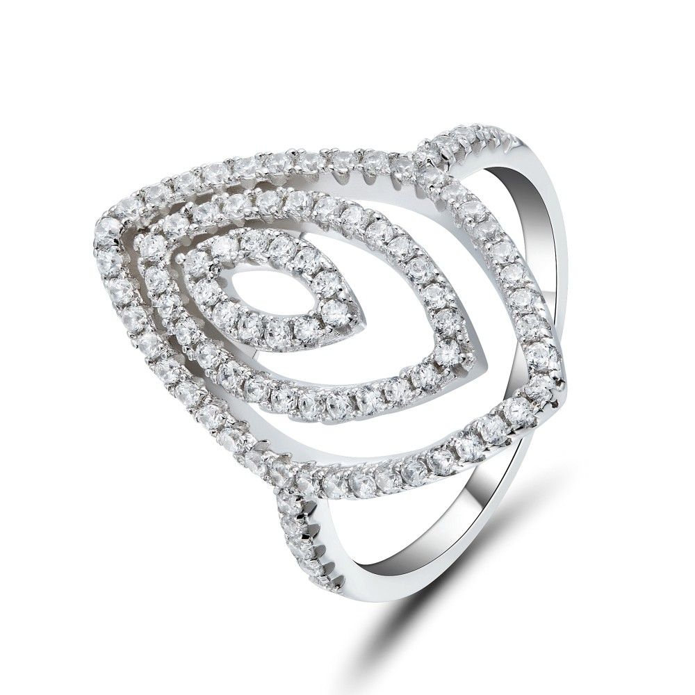 Coupe Marquise Gemme Argent Sterling Bague Cocktail