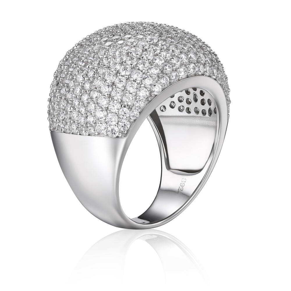 Luxe Coupe Ronde Gemme Argent Sterling Bague Cocktail