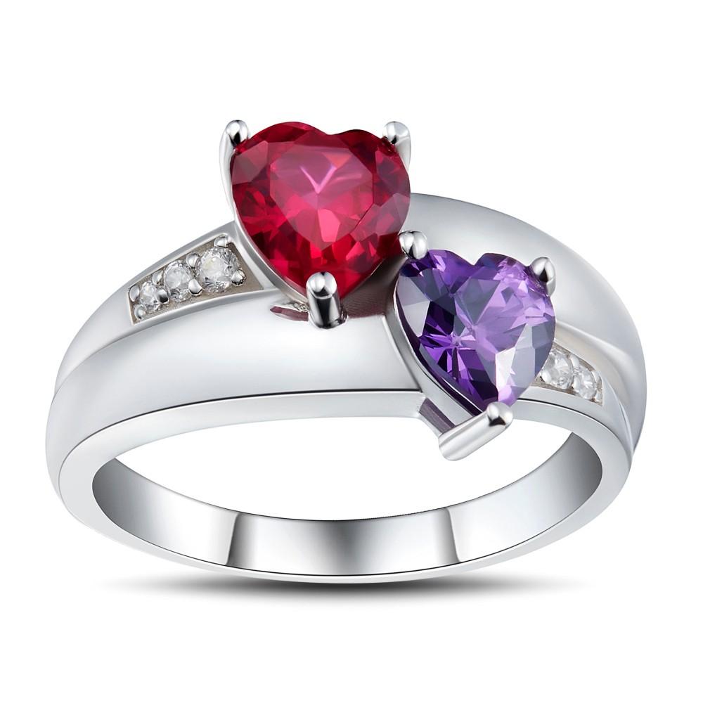 Coupe Coeur Rubis 925 Argent Sterling Bagues de Promesse pour Elle