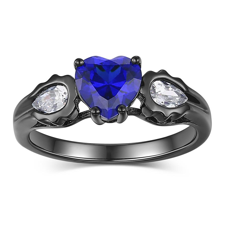 Coupe Coeur Saphir Bleu s925 Argent Bagues de Promesse pour Elle