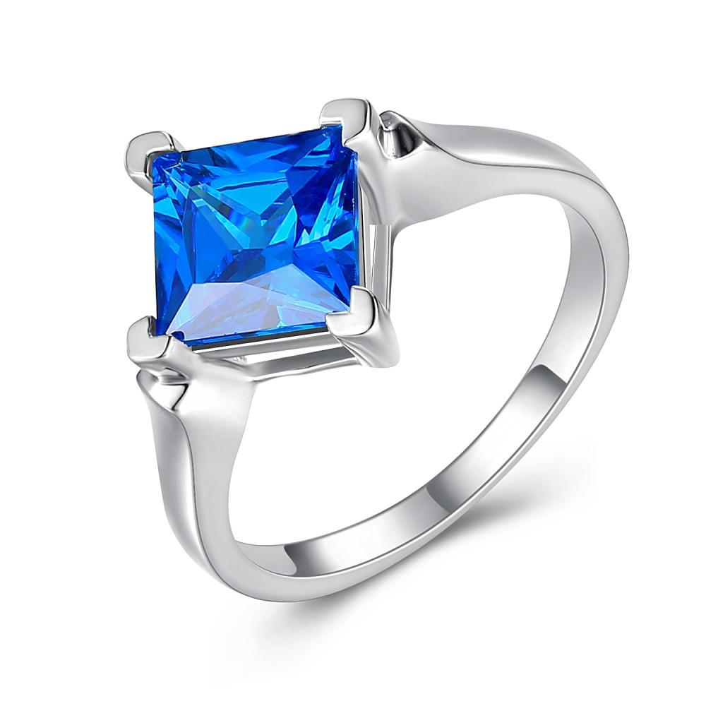 Saphir Bleu Coupe Princesse 925 Argent Sterling Bague de Fiançailles