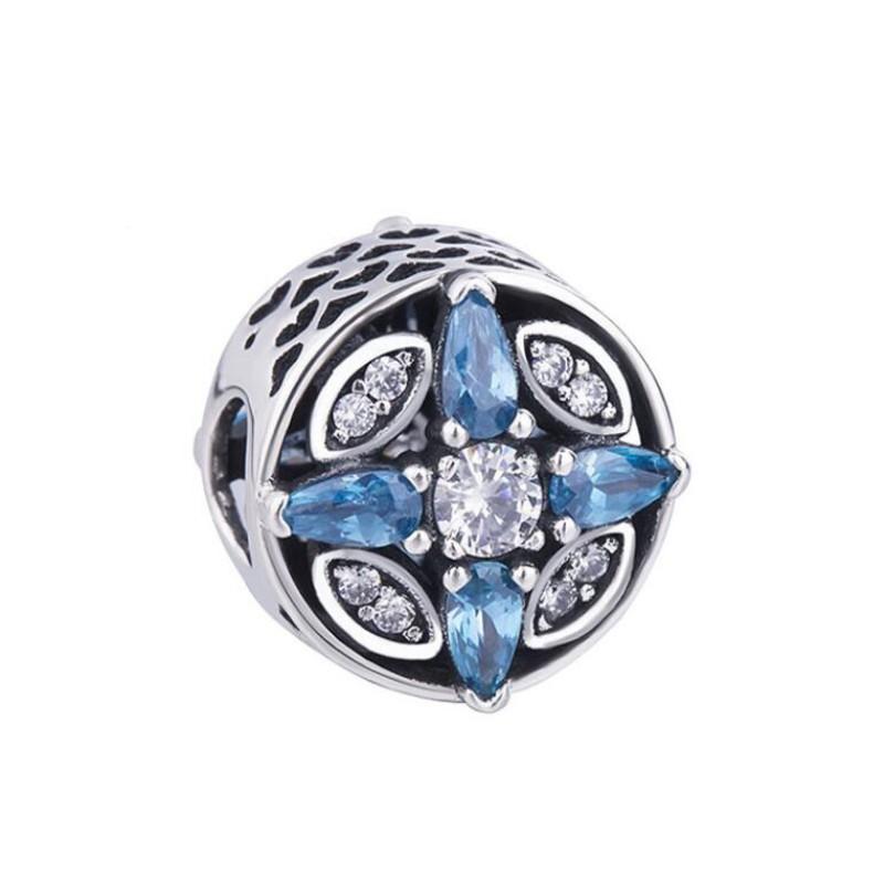 Coeur with Coupe Poire Bleu Stone Breloque Argent Sterling