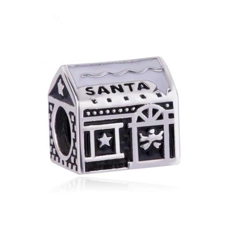 Santa House Breloque Argent Sterling