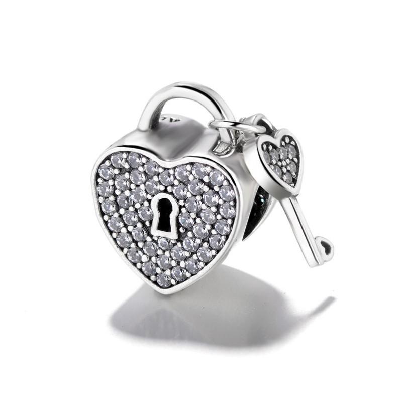 Coeur Lock & Key Breloque Argent Sterling