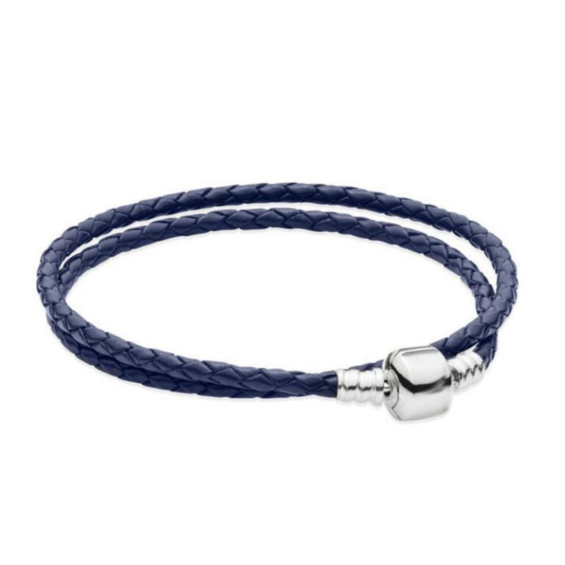 Double Cercle Royal Bleu Woven CuirBreloque Bracelet