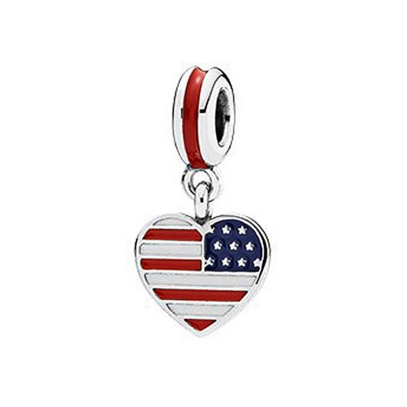 American Flag Breloque Argent Sterling