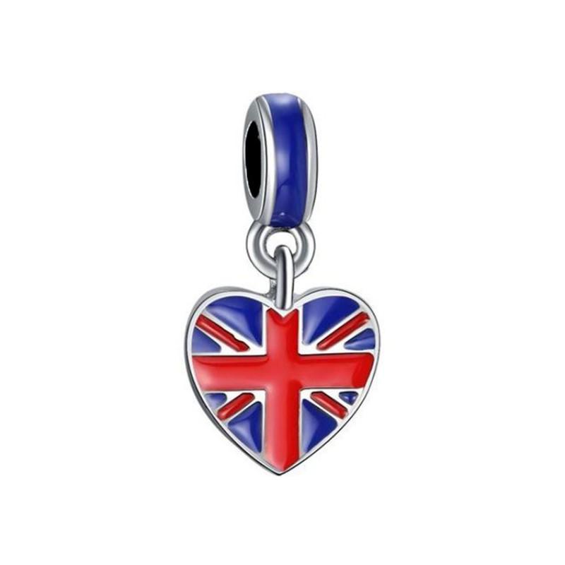 British Flag Breloque Argent Sterling