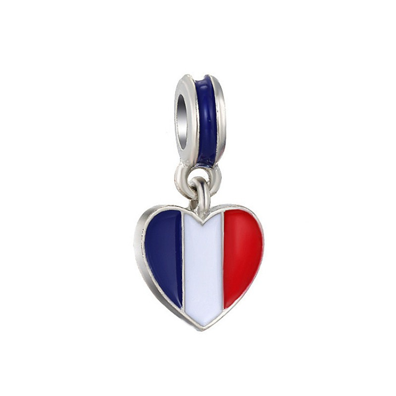 French Flag Breloque Argent Sterling