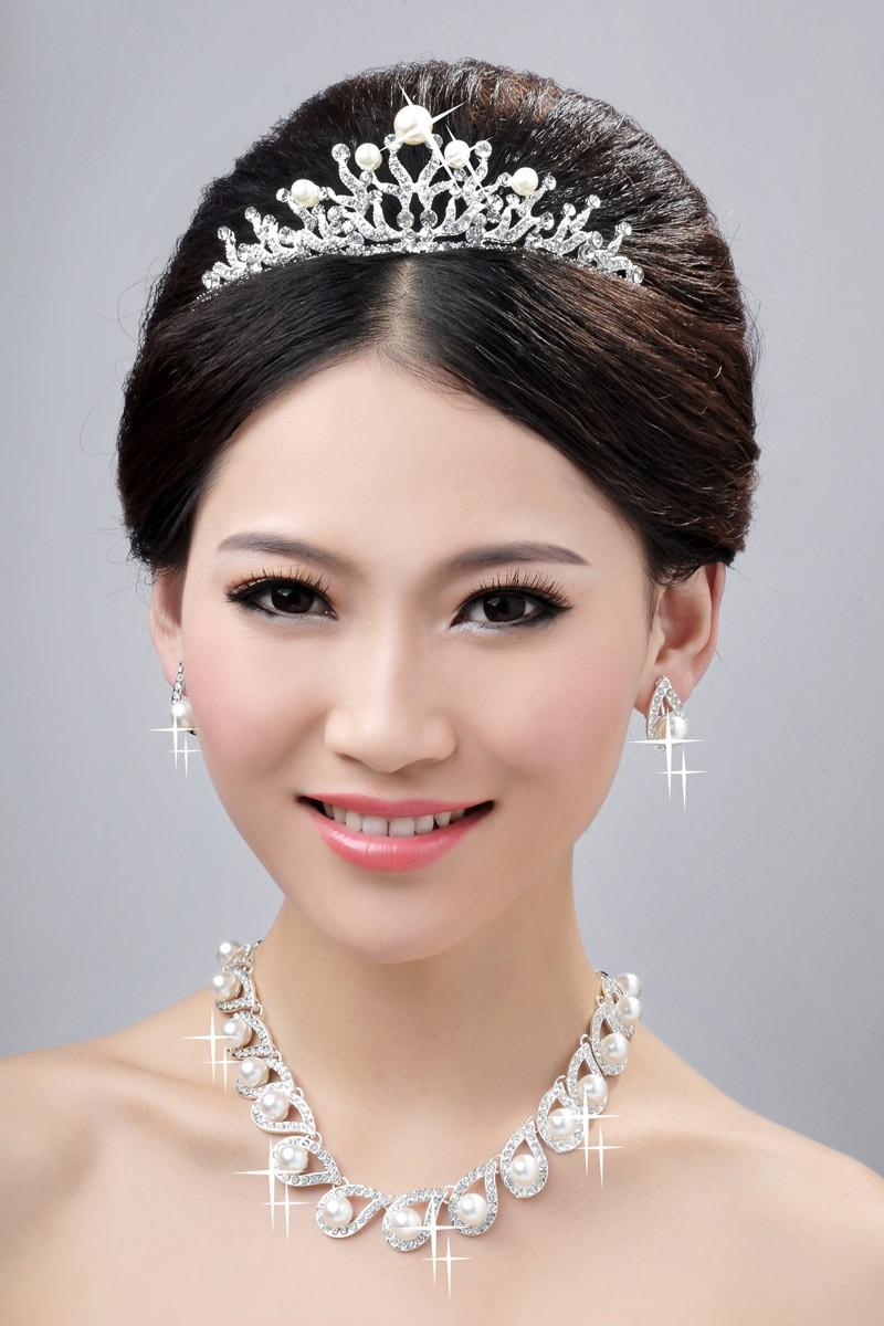 Breloqueing Alliage Cristaux Clairs Perles Coiffe de Mariage Colliers Boucles d'oreilles Set